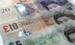 Pound notes in  different denominations