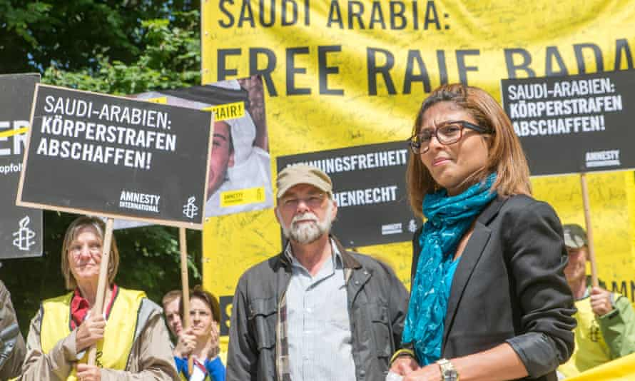 Blogger Raif Badawi's wife, Ensaf Haidar, take part on an Amnesty International protest in front of the Saudi Arabia embassy in Berlin last month.