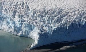 A glacier in Half Moon Bay, Antarctica.