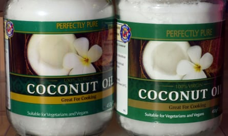 Jars of coconut oil for cooking