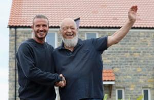 David Beckham opens houses on Maggie's Farm along with Glastonbury Festival founder Michael Eavis