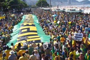 <strong>Copacabana, Rio de Janeiro</strong> People participate in a large-scale demonstration against the government and march along the beach