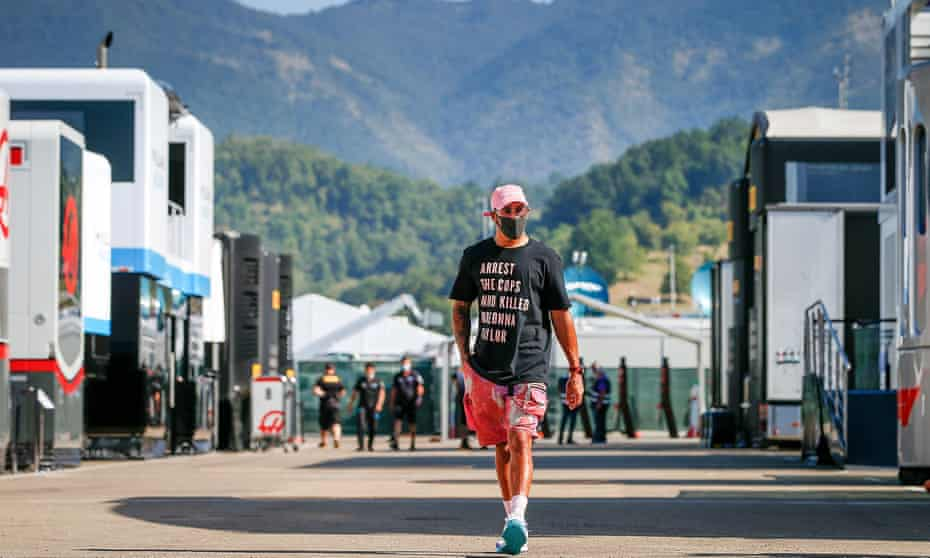 Lewis Hamilton wears a T-shirt at the Tuscan Grand Prix that reads: 'Arrest the cops who killed Breonna Taylor'. He was a voice for social change and called out F1's silence on a number of issues.