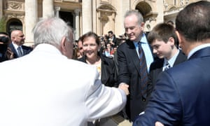 Bill O'Reilly shakes hand with Pope Francis during the Wednesday general audience in Saint Peter's square at the Vatican.