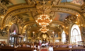 Travel de luxe: Le Train Bleu Restaurant, Gare de Lyon, with lots of gold and chandeliers.