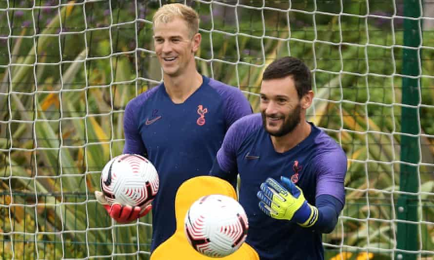 Joe Hart (left) and Hugo Lloris training at Tottenham in August.