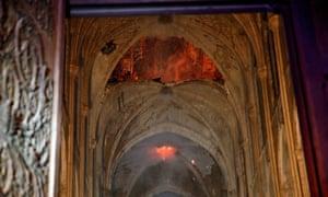 Flames burning inside Notre Dame