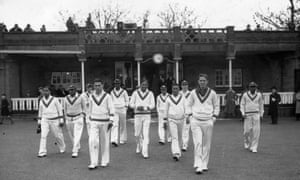 The 1939 West Indian cricketing tourists take the field at Gravesend in Kent for a tour match