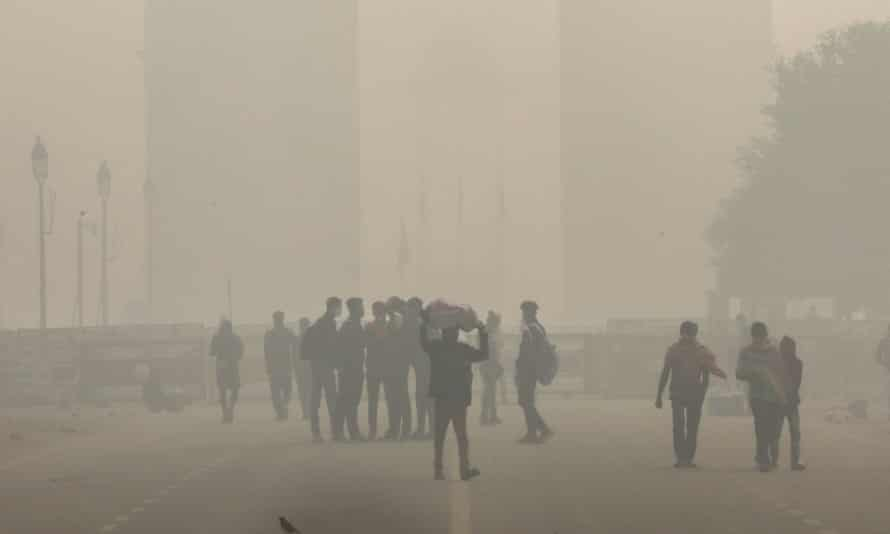 Delhi is engulfed in heavy smog last November. There are more than 1m early deaths from air pollution a year in India.