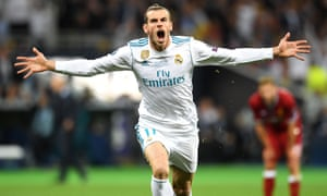 Gareth Bale celebrates after scoring for Real Madrid against Liverpool in the 2018 Champions League final.