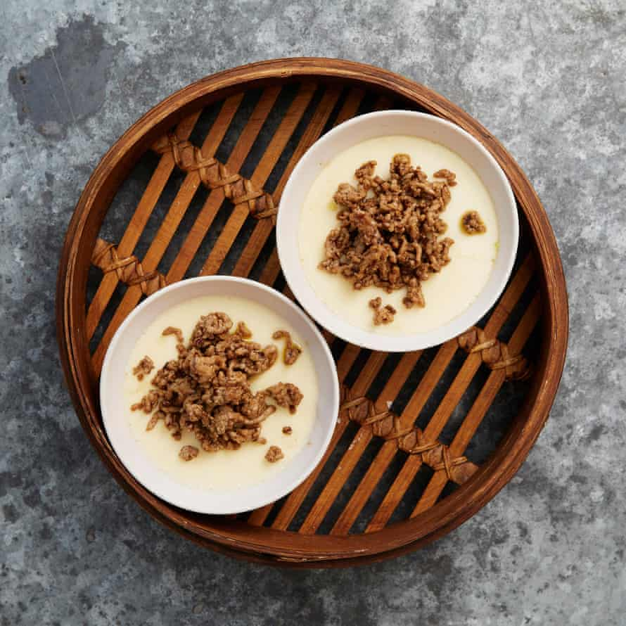 Fuchsia Dunlop's steamed egg custard with minced pork topping.