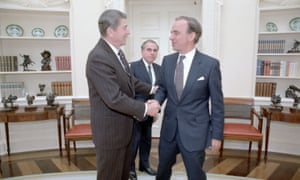 Ronald Reagan meeting with Rupert Murdoch in the Oval Office on 18 January 1983.
