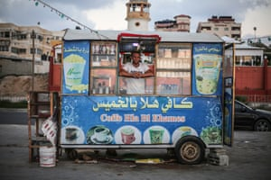 Issa Hassan, 22, who runs a beachside coffee stall in Gaza City.