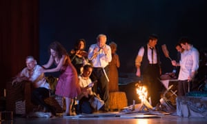 Charles Workman, Amanda Echalaz, Christine Rice, Iestyn Davies, Thomas Allen, Sally Matthews, Morgan Moody, David Allen Moore and Frédéric Antoun in The Exterminating Angel.