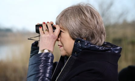 Theresa May at the London Wetland Centre, where she delivered her speech on the environment.
