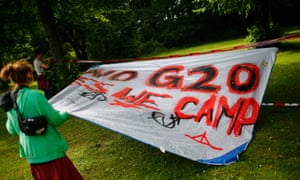 Activists from ATTAC organisation set up a camp as they protest ahead of the upcoming G20 summit.