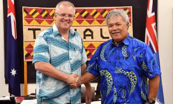 Tuvalu's prime minister, Enele Sopoaga, told Australia's PM, Scott Morrison: 'You are trying to save your economy, I am trying to save my people.'