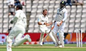 Neil Wagner of New Zealand celebrates taking the wicket of Ravindra Jadeja.