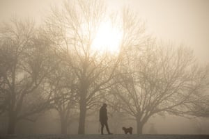 A woman exercises a dog on a foggy morning at Blythe Hill Fields, in south-east London