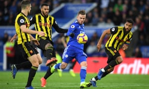 James Maddison lines up before scoring his superb second goal for Leicester against Watford.