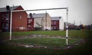 Goalposts in park in Gorton, Manchester