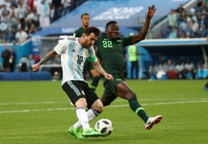 Kenneth Omeruo cannot stop Lionel Messi opening the scoring in Nigeria's 2-1 defeat to Argentina at the 2018 World Cup.