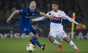 Davy Klaassen, left, in action here against Lyon, has not played for Everton under David Unsworth.