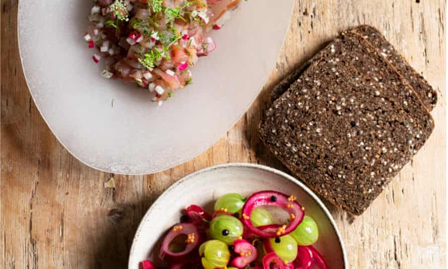 Sharp practice: pickled gooseberries, mackerel tartare.