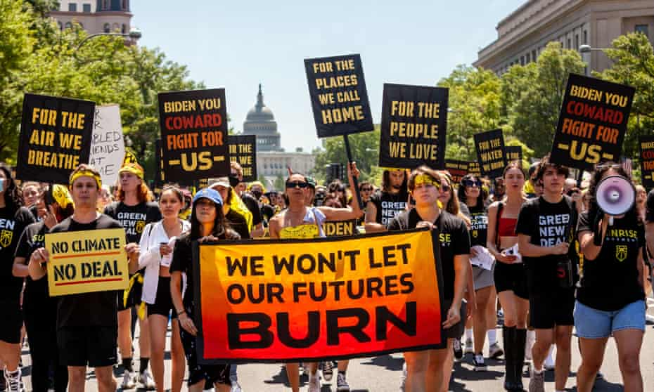 A Sunrise Movement demonstration in Washington DC last June seeking more action from the Biden administration on the climate crisis.