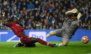 Sadio Mané scores Liverpool's first goal against Porto to set them on their way to a 4-1 victory on the night and a 6-1 win on aggregate.