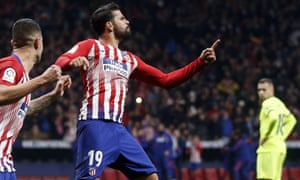 Atletico Madrid's Diego Costa celebrates after scoring the opening goal