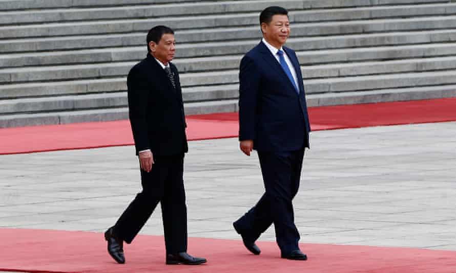 Rodrigo Duterte and Xi Jinping in Beijing.