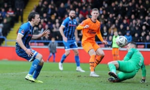 Rochdale's Oliver Rathbone reacts to a missed chance.