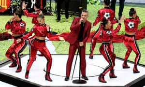 Robbie Williams during the World Cup opening ceremony