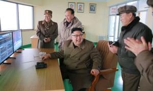 North Korea leader Kim Jong-un overseeing the successful rocket engine test.