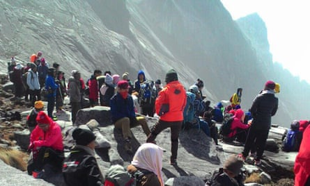 Score of hikers were trapped on Mount Kinabalu on Friday.