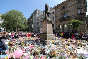 A minute's silence in St Ann's Square, Manchester, to remember the victims of the terror attack.