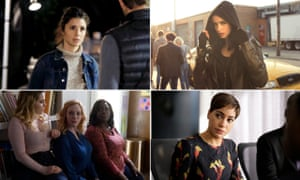 Clockwise from top left: Unreal, Jessica Jones, The Good Fight and Good Girls.