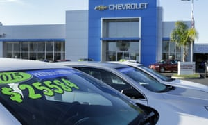Chevrolet vehicles on sale in Fremont, California. The US car industry suffered in the 2000s but has rebounded in recent years, adding jobs.