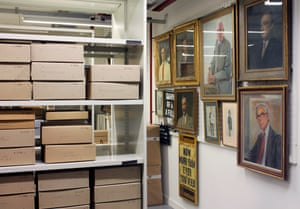 View of one of the current Archive stores situated in the basement at Kings Place.   The archive holds official records of the Guardian and the Observer and also seeks to acquire material from people who have been associated with the papers. As well as corporate records the archive holds correspondence, diaries, notebooks, original cartoons and photographs belonging to staff of the papers.