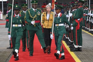 Abuja, Nigeria Theresa May arrives in Nigeria, on day two of her trip to Africa, following yesterday's visit to South Africa