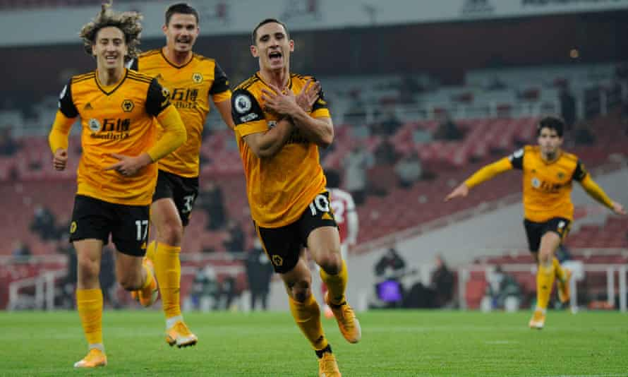Daniel Podence celebrates after scoring what proved to be the winner, just before half-time.