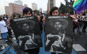 Bogotá, Colombia. A demonstration