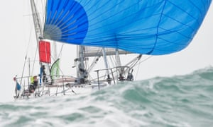 Jean-Luc van den Heede approaching the Golden Globe race's finish line on Tuesday