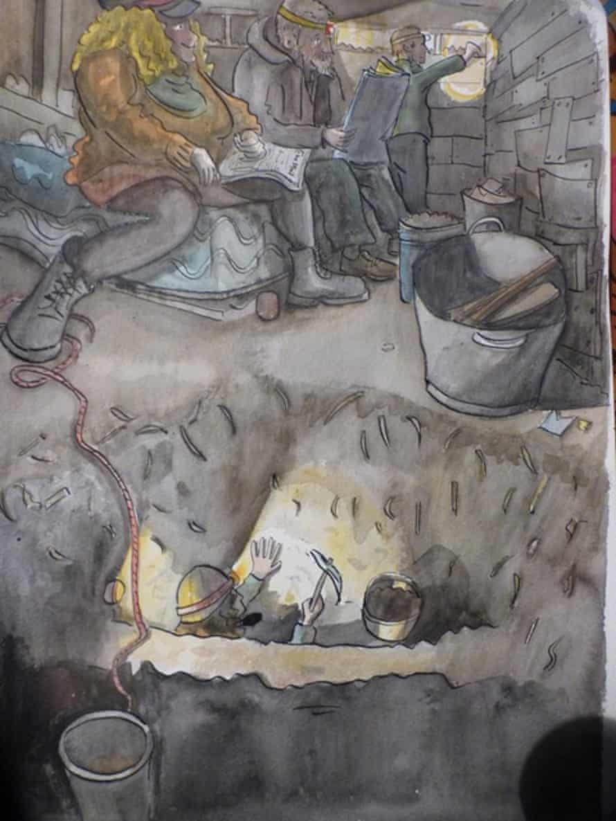 A sketch by activist Jimbino Vegan, done just as work was starting on the Euston tunnel back in November 2020