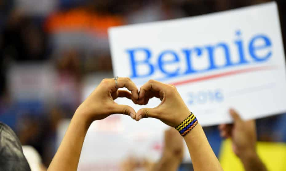 Supporters of Democratic presidential candidate Bernie Sanders attend an election night rally in Carson, California, on Tuesday.