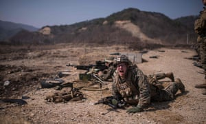 US soldiers take part in a live fire drill near South Korea's south-eastern port city of Pohang.