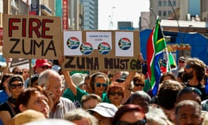 Protestors at a demonstration of the Save South Africa campaign, demanding resignation of South African president Jacob Zuma.