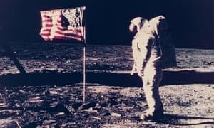 Nasa photograph of Buzz Aldrin during the first moon landing
