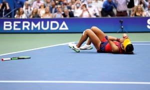 Emma Raducanu reacts to winning match point to defeat Leylah Annie Fernandez.